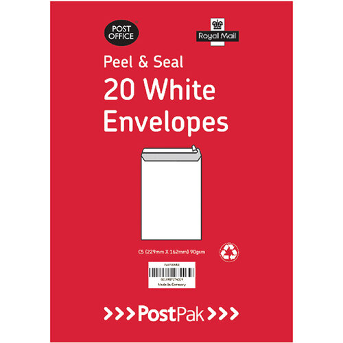Envelopes C5 Peel &Seal White 90Gsm Pack of 20 POF27423