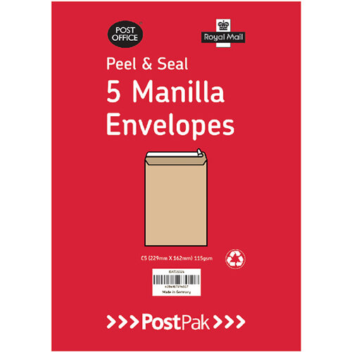 Envelopes C4 Peel &Seal Manilla 115Gsm Pack of 5 POF27428