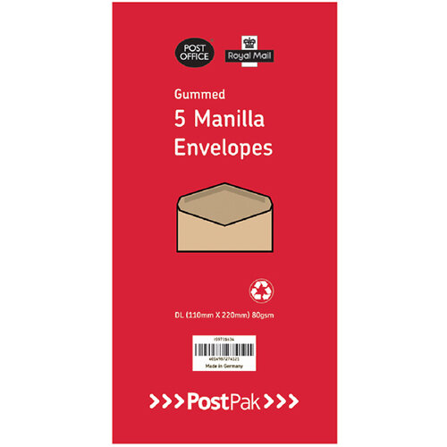 Envelopes Dl Gummed Manilla 70Gsm Pack of 5 POF27432