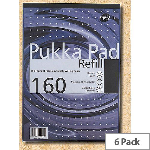 Pukka Pad A4 Ruled &Margin Refill Pad Pack of 6
