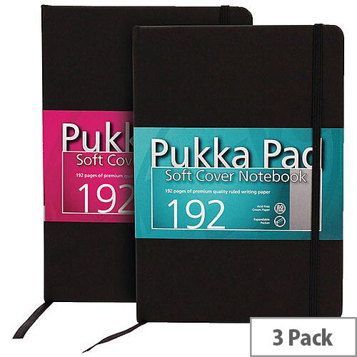Pukka Signature Soft Cover Notebook A5 Casebound 192 Pages Black Pack of 3 7746-SIG
