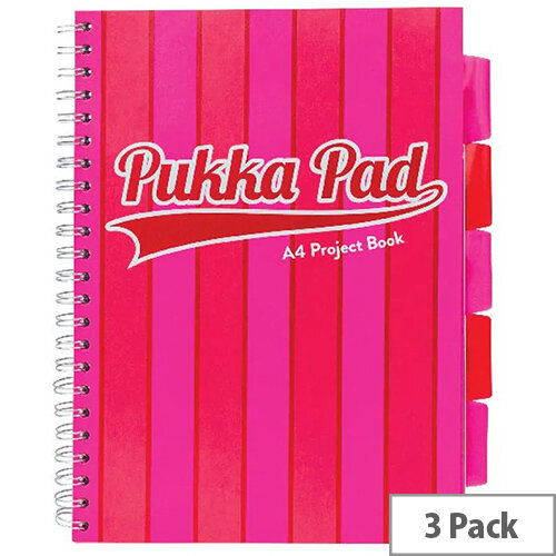 Pukka Pad Vogue Wirebound Project Book A4 Pink Pack of 3 8537-VOG