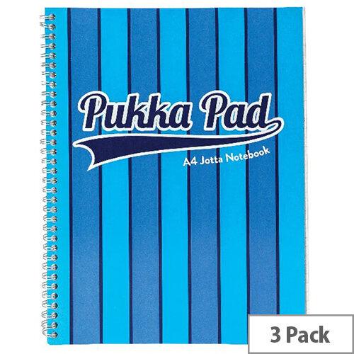 Pukka Pad Vogue Wirebound Jotta Pad A4 Blue Pack of 3 8542-VOG