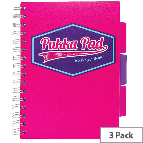 Pukka Pad Vision Wirebound Project Book A5 Pink Pack of 3 8611-VIS