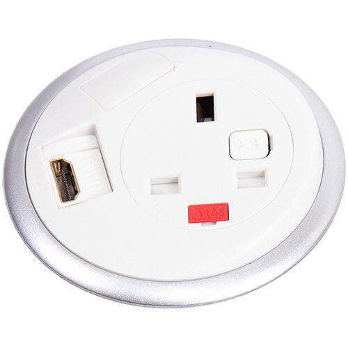 Pixel In-surface Power Module 1 x UK Socket, 1 x TUF (A& connectors) USB Charger - White