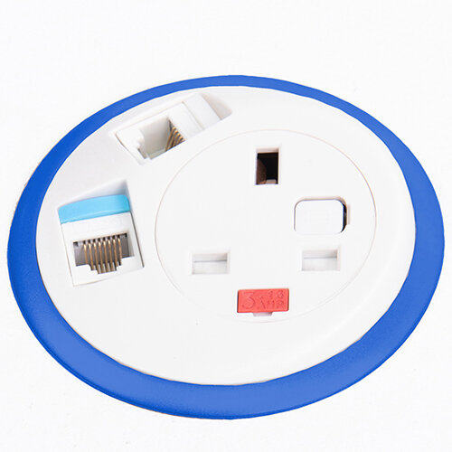 Pixel In-surface Power Module with 1 x UK Socket, 2 x RJ45 Sockets - Dark Blue