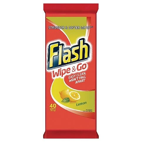 Flash Wipe and Go Lemon 40 Wipes in Pouch Pack (Pack of 1) 5410076791750