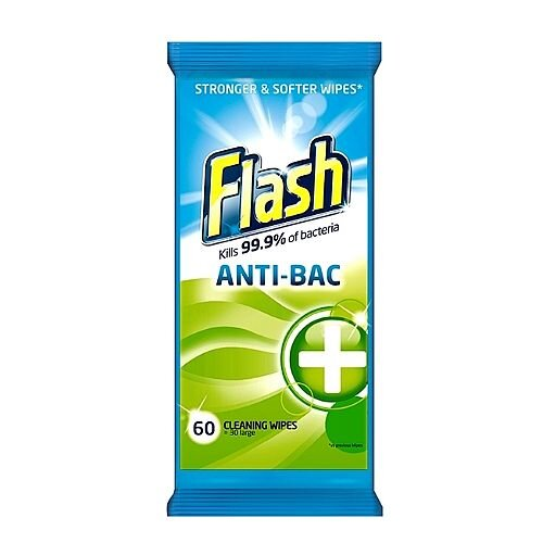 Flash Strong Weave Antibacterial Cleaning Wipes Pouch Pack 1 (60 Wipes) 5413149937185