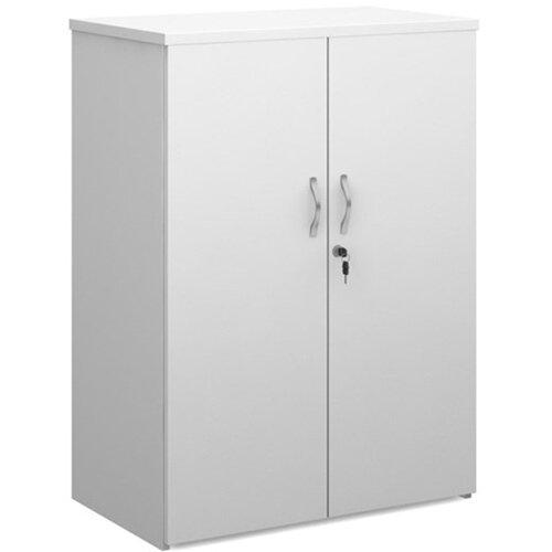 Universal double door cupboard 1090mm high with 2 shelves - white with walnut doors