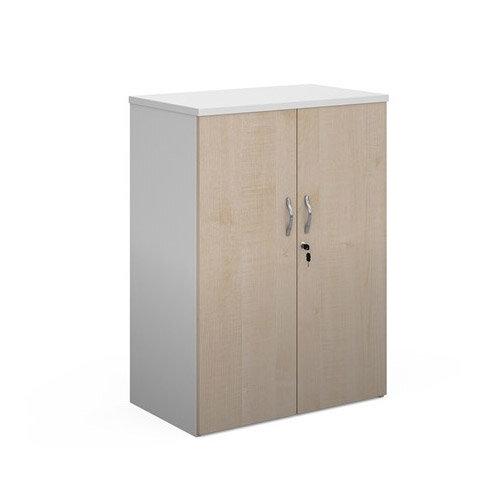 Duo Double Door Cupboard 1090Mm High With 2 Shelves - White With Maple Doors