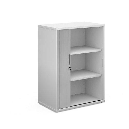 Universal Single Door Tambour Cupboard 1090Mm High With 2 Shelves - White With Silver Door