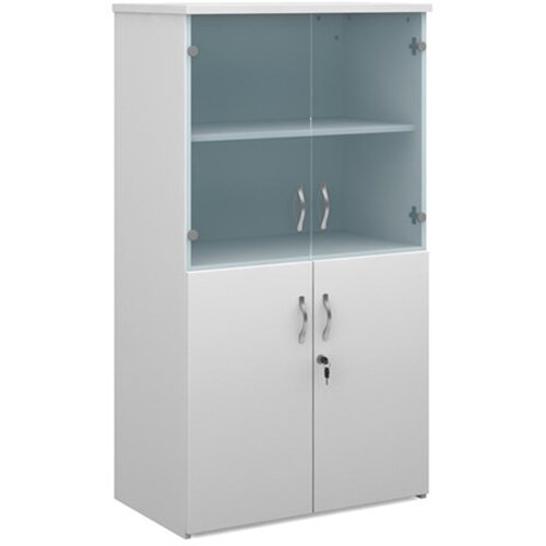 Universal combination unit with glass upper doors 1440mm high with 3 shelves - white with walnut lower doors