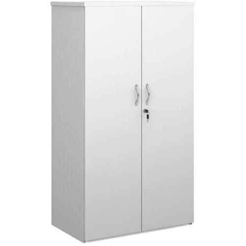 Universal double door cupboard 1440mm high with 3 shelves - white with walnut doors