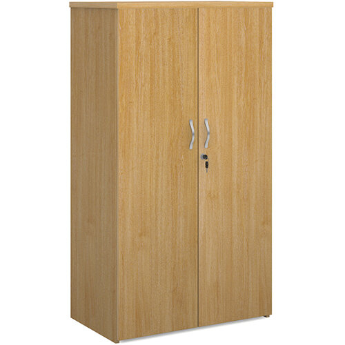 Universal double door cupboard 1440mm high with 3 shelves - oak
