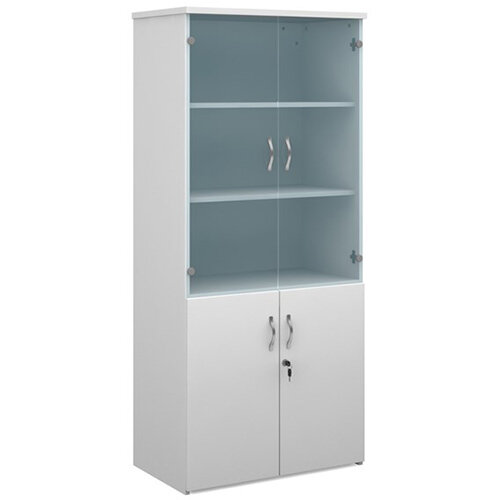 Universal combination unit with glass upper doors 1790mm high with 4 shelves - white with walnut lower doors