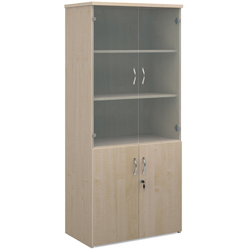Universal combination unit with glass upper doors 1790mm high with 4 shelves - maple