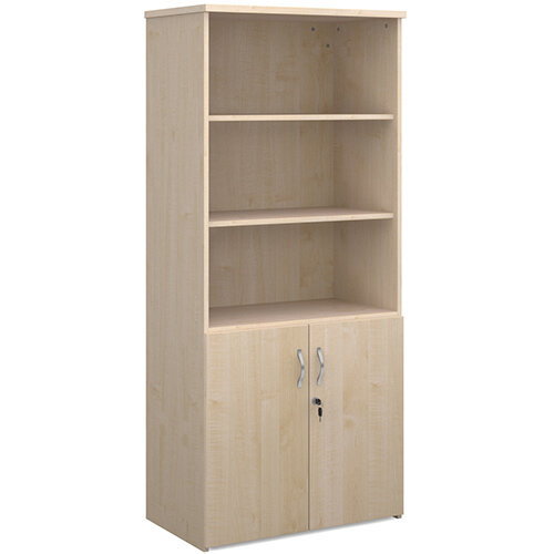 Universal combination unit with open top 1790mm high with 4 shelves - maple