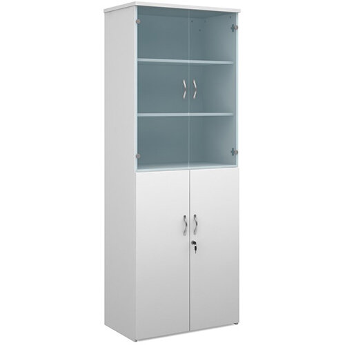 Universal combination unit with glass upper doors 2140mm high with 5 shelves - white with walnut lower doors