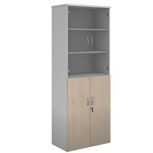 Duo Combination Unit With Glass Upper Doors 2140Mm High With 5 Shelves - White With Maple Lower Doors