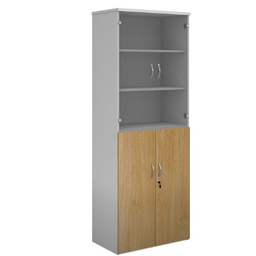 Duo Combination Unit With Glass Upper Doors 2140Mm High With 5 Shelves - White With Oak Lower Doors