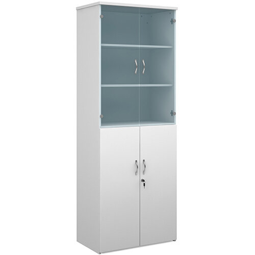 Universal combination unit with glass upper doors 2140mm high with 5 shelves - white