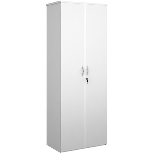 Universal double door cupboard 2140mm high with 5 shelves - white with walnut doors