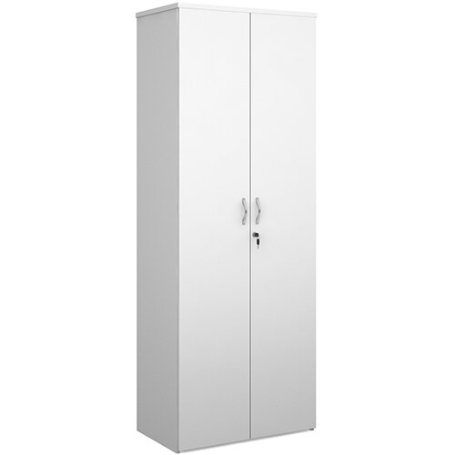 Universal double door cupboard 2140mm high with 5 shelves - white