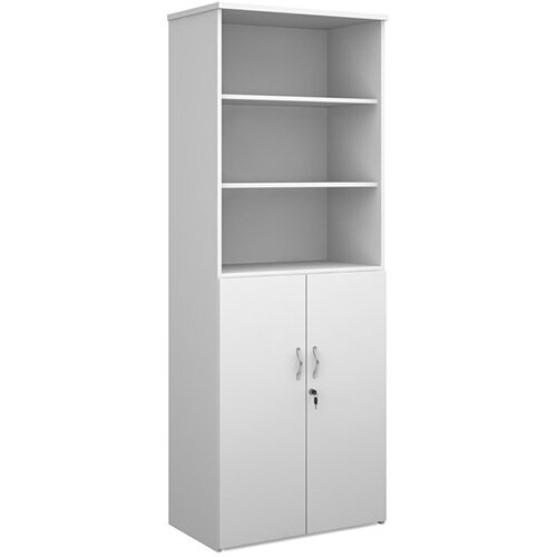 Universal combination unit with open top 2140mm high with 5 shelves - white with walnut lower doors