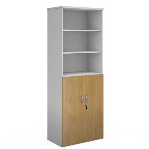 Duo Combination Unit With Open Top 2140Mm High With 5 Shelves - White With Oak Lower Doors