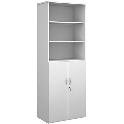 Universal combination unit with open top 2140mm high with 5 shelves - white
