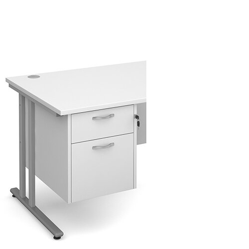 Maestro 25 2 drawer fixed pedestal - white