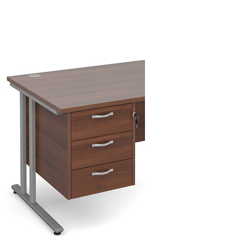 Maestro 25 3 drawer fixed pedestal - walnut