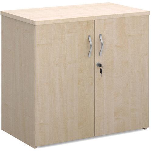 Universal double door cupboard 740mm high with 1 shelf - maple