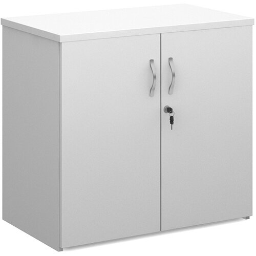 Universal double door cupboard 740mm high with 1 shelf - white