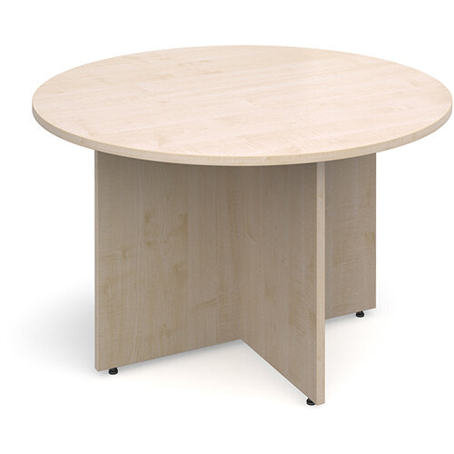 Arrow Head Leg Circular Meeting Table 1200mm - Maple