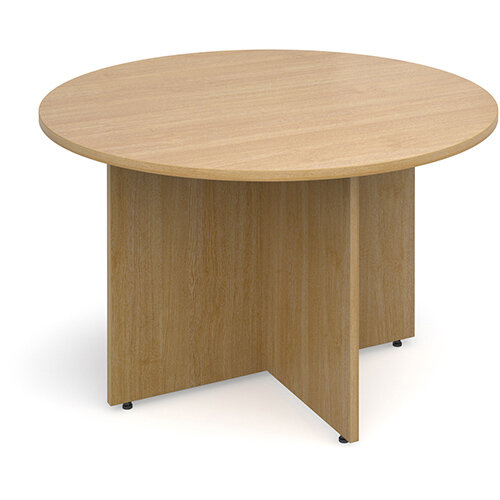 Arrow Head Leg Circular Meeting Table 1200mm - Oak