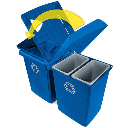 Rubbermaid Slim Jim Glutton Recycling Station 4 Stream 348L Blue