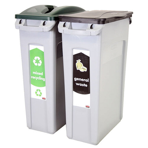 Rubbermaid Recycling Starter Pack Two Stream Slim Jim Starter Pack 87L