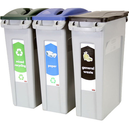 Rubbermaid Recycling Starter Pack Three Stream Slim Jim Starter Pack 87L
