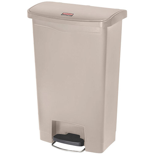 Rubbermaid Resin Slim Jim 50 Litre Front Step Step-On Waste Basket Beige