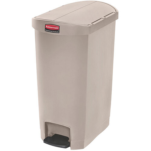 Rubbermaid Resin Slim Jim 50 Litre End Step Step-On Pedal Bin Beige
