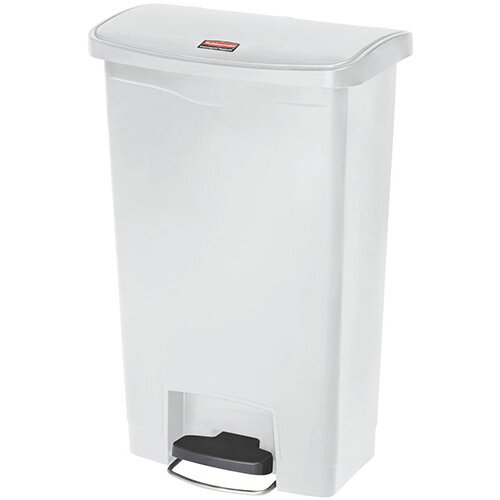 Rubbermaid Resin Slim Jim 50 Litre Front Step Step-On Waste Basket White