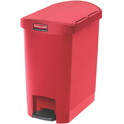 Rubbermaid Resin Slim Jim 30 Litre End Step Step-On Pedal Bin Red