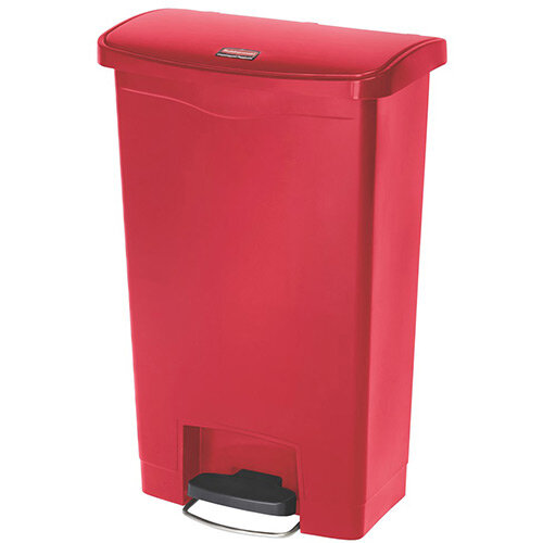 Rubbermaid Resin Slim Jim 50 Litre Front Step Step-On Waste Basket Red