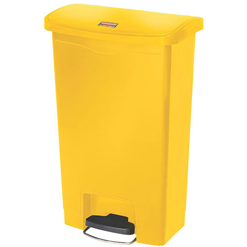 Rubbermaid Resin Slim Jim 50 Litre Front Step Step-On Waste Basket Yellow