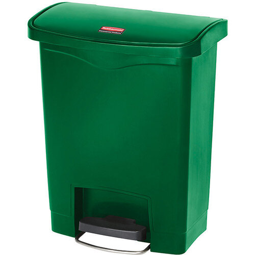 Rubbermaid Resin Slim Jim 30 Litre Front Step Step-On Pedal Bin Green