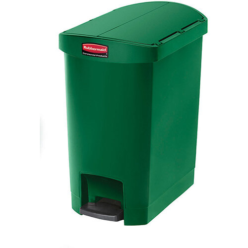 Rubbermaid Resin Slim Jim 30 Litre End Step Step-On Pedal Bin Green