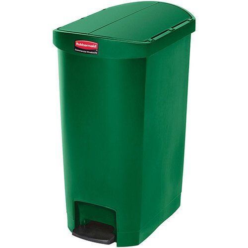 Rubbermaid Resin Slim Jim 50 Litre End Step Step-On Pedal Bin Green
