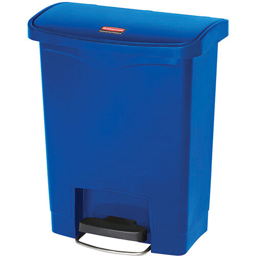 Rubbermaid Resin Slim Jim 30 Litre Front Step Step-On Pedal Bin Blue