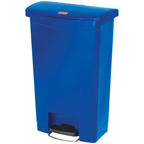 Rubbermaid Resin Slim Jim 50 Litre Front Step Step-On Waste Basket Blue